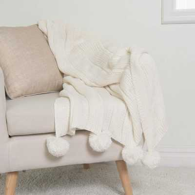 Knitted Pom Pom Ivory Acrylic Throw - Home Depot