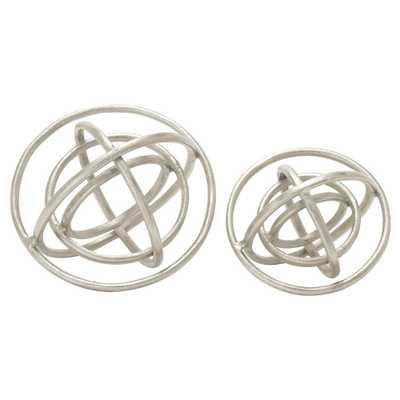 Modern Reflections Aluminum Ring Decorative Orb Set Silver 2pk - Olivia & May - Target