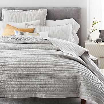 Belgian Flax Linen Linework Quilt, Full/Queen, Frost Gray - West Elm