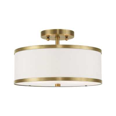 Livex Lighting Park Ridge 13 in. 2-Light Antique Brass Semi-Flush Mount Light - Home Depot