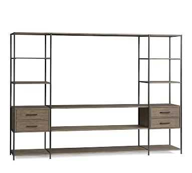 Ramsey Large Media Suite (2 Media Towers, 4 Long Shelves), Earl Gray - Pottery Barn