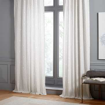"Concentric Squares Curtain, Set of 2, Platinum, 48""x96"" - West Elm"
