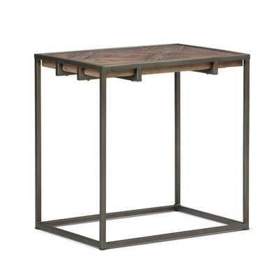 Avery Distressed Java Brown Wood Inlay Narrow End Side Table - Home Depot