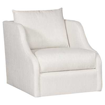 Vanguard Cora Modern Classic White Upholstered Swivel Arm Chair - Kathy Kuo Home