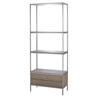 Resource Decor Paxton Mid Century Modern Wood Silver Metal Book Display Case - Kathy Kuo Home