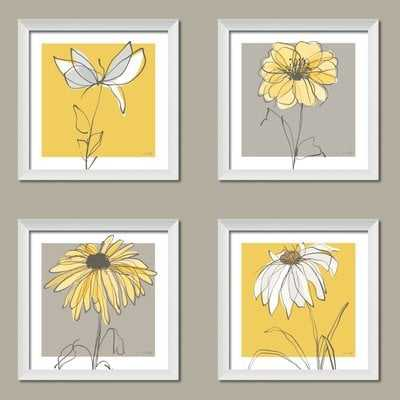 'Beautiful Gray and Yellow Flower' 4 Piece Framed Graphic Art Print Set - Wayfair