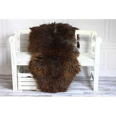 Genuine Natural Sheepskin Soft Wool Dark Brown Area Rug - Wayfair