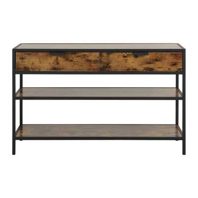 Hamilton 49 in. Antique Wood 2-Drawer and 2-Shelf Metal and Wood Console Table - Home Depot