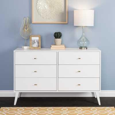 Prepac 6-Drawer Milo Mid Century Modern Dresser, White... - Home Depot