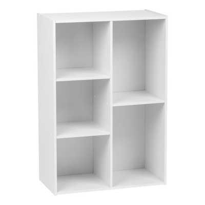 5-Compartment White Wood Organizer Bookcase Storage Shelf - Home Depot