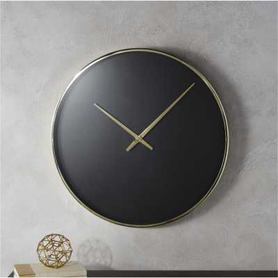 solitaire black and gold wall clock - CB2