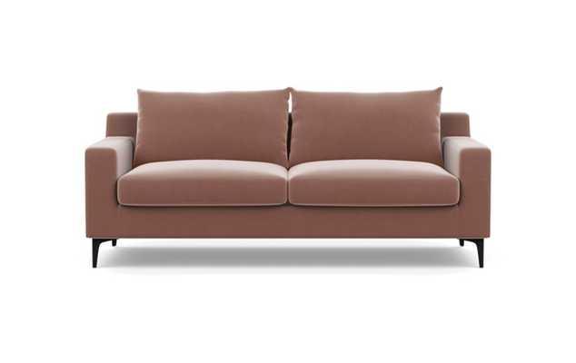 Sloan Sofa with Pink Blush Fabric, down alt. cushions, and Matte Black legs - Interior Define
