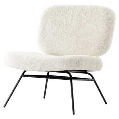 Aster Modern Industrial Ivory Faux Angora Black Iron Accent Chair - Kathy Kuo Home