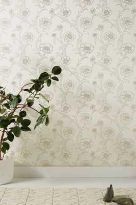 Gold Leaf Peonies Wallpaper - Anthropologie
