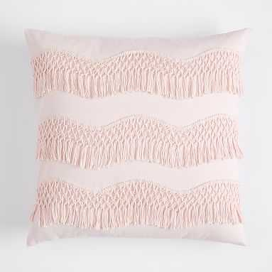 Zig Zag Fringe Pillow Cover, 18 x 18, Powdered Blush - Pottery Barn Teen