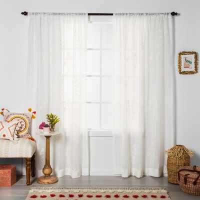 """84""""x54"""" Embroidered Floral Sheer Curtain Panel White - Opalhouse - Target"""