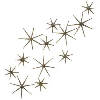 Stellato Mid Century Brass Star Wall Sculptures - Set of 12 - Kathy Kuo Home