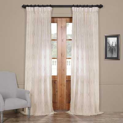 Exclusive Fabrics & Furnishings Suez Natural Ivory Embroidered Faux Linen Sheer Curtain - 50 in. W x 96 in. L - Home Depot
