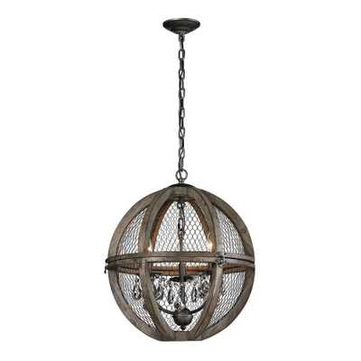 Titan Lighting 3-Light Small Renaissance Invention Wood and Wire Chandelier - Home Depot
