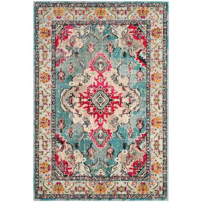Monaco Light Blue/Fuchsia (Light Blue/Pink) 7 ft. x 9 ft. Area Rug - Home Depot