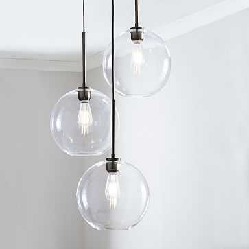 Sculptural Glass 3-Light Round Globe Chandelier, Medium Globe, Clear Shade, Bronze Canopy - West Elm