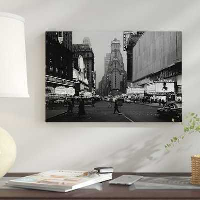 '1950s Night Times Square Looking South from Duffy Square to NY Times Building Movie Marquees New York City NY USA' Photographic Print on Wrapped Canvas - Wayfair