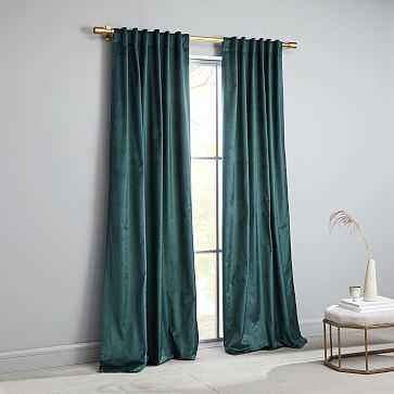 "Cotton Luster Velvet Curtain, Green Gables, 48""x84"" - West Elm"