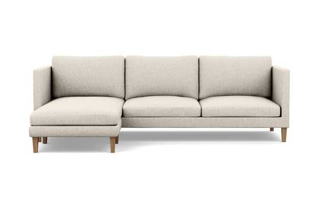 Oliver Reversible Sectional with Beige Wheat Fabric, left facing chaise, and Natural Oak legs - Interior Define