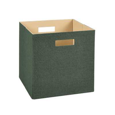 13 in. H x 13 in. W x 13 in. D Decorative Fabric Storage Bin in Green - Home Depot