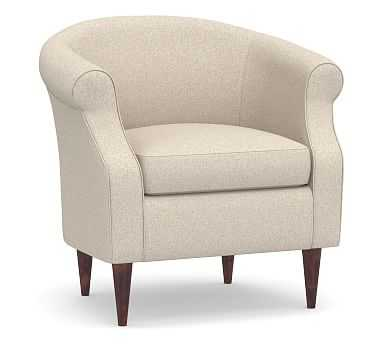 SoMa Lyndon Upholstered Armchair, Polyester Wrapped Cushions, Textured Twill Khaki - Pottery Barn