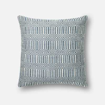 "PILLOWS - BLUE / IVORY - 22"" X 22"" Cover Only - Loma Threads"