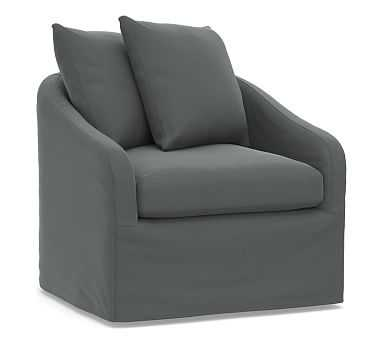 Anniston Slipcovered Swivel Armchair, Down Blend Wrapped Cushions, Performance Plush Velvet Slate - Pottery Barn