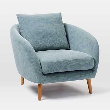 Hanna Chair, Basket Slub, Blue Stone, Almond - West Elm