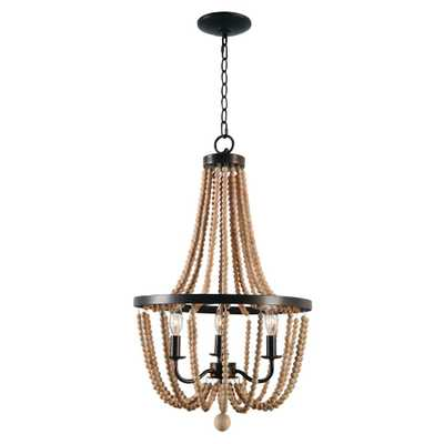 Kenroy Home Regas 3-Light Wood Bead Chandelier - Home Depot