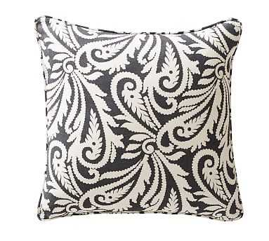 "Wynnfield Paisley Print Pillow Cover, 20"", Black/Ivory - Pottery Barn"