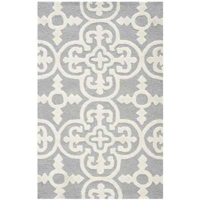 Nicholls Gray Hand-Woven Wool Area Rug - Wayfair