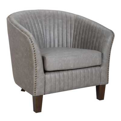 Shelton Light Grey Faux Leather Club Chair - Home Depot