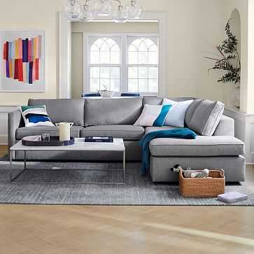"Harris Sectional Set 12: Right Arm 75"" Sofa, Left Arm Terminal Chaise, Poly, Performance Velvet, Dove Gray, - West Elm"