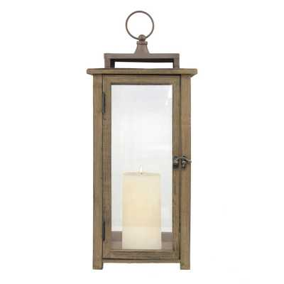 Stonebriar Collection Brown Rustic Candle Hurricane Lantern - Home Depot