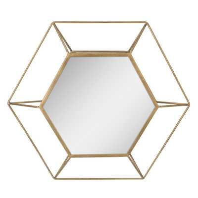 Hexagon Antique Gold Decorative Mirror - Home Depot