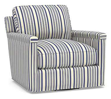 Tyler Square Arm Upholstered Swivel Armchair without Nailheads, Polyester Wrapped Cushions, Antique Stripe Blue - Pottery Barn