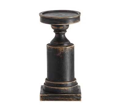 Painted Carved Wood Pillar Holders, Black - Small - Pottery Barn