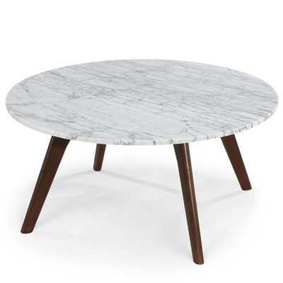 Poly and Bark Riley Marble Round Coffee Table in Walnut (Brown) - Home Depot