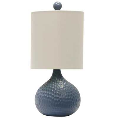 StyleCraft 16.5 in. Blue Table Lamp with White Hardback Fabric Shade - Home Depot
