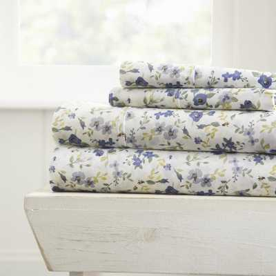Blossoms Patterned 4-Piece Light Blue Twin Performance Bed Sheet Set - Home Depot