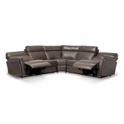 Baxton Studio Alvar Gray Faux Leather Sectional - Home Depot
