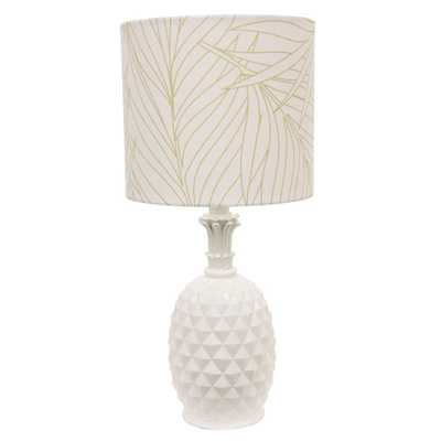 Decor Therapy Pineapple 19 in. White Table Lamp with Cotton Shade - Home Depot