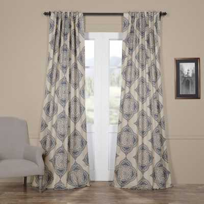 Exclusive Fabrics & Furnishings Semi-Opaque Henna Blue Blackout Curtain - 50 in. W x 120 in. L (Panel) - Home Depot