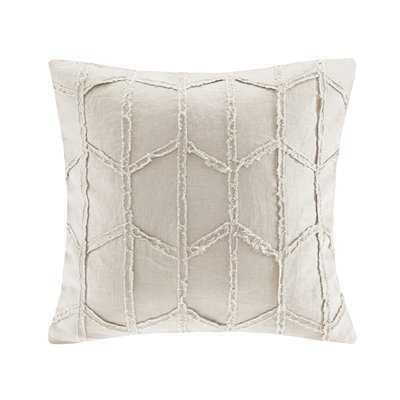 Frayed Geo Linen Throw Pillow - Birch Lane