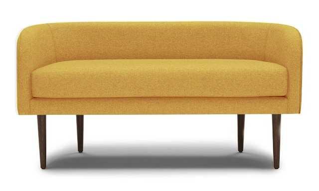 Yellow Elsie Mid Century Modern Bench - Taylor Golden - Coffee Bean - Joybird
